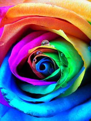 Raindrops Photograph - Rainbow Rose by Juergen Weiss