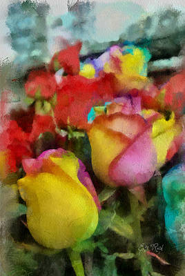 Rainbow Roses Watercolor Digital Painting Art Print by Eti Reid
