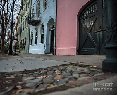 Photograph - Rainbow Row Cobblestone by Dale Powell