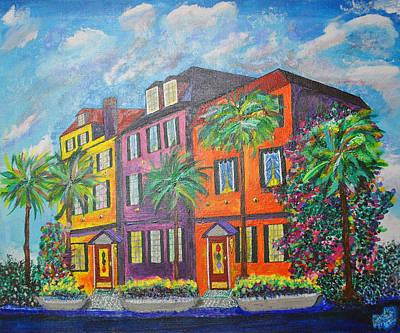 Rainbow Row Painting - Rainbow Row 'earthquake Bolts' by Ricardo Of Charleston