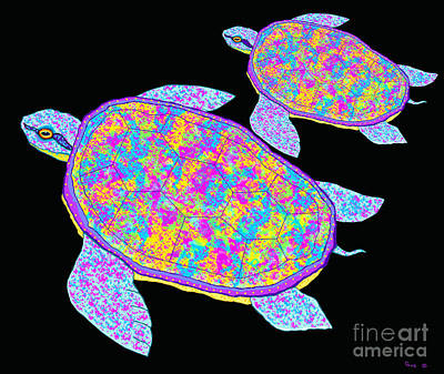 Rainbow Sea Turtles Art Print by Nick Gustafson
