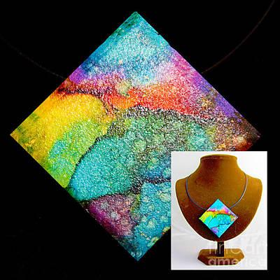 Wall Art - Painting - Rainbow Sky Necklace by Alene Sirott-Cope