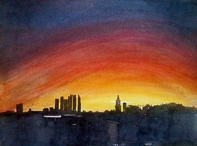Moscow Skyline Painting - Rainbow Sky by Sai P