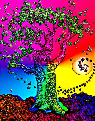 Rainbow Sky Tree Art Print