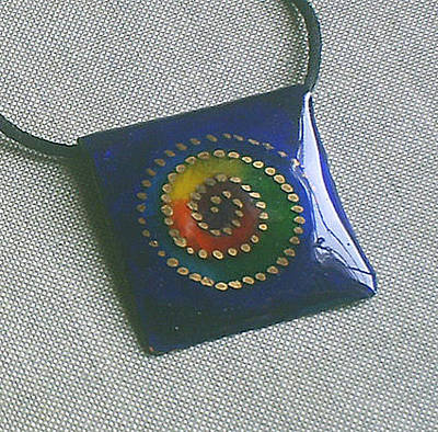 Hand Painted Pendant Jewelry - Rainbow Spiral by Asya Ostrovsky