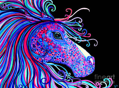 Rainbow Horses Drawing - Rainbow Spotted Horse2 by Nick Gustafson