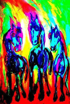 Cognition Painting - The Rainbow Stallions Don't Wanna Be Race Horses  by Hilde Widerberg