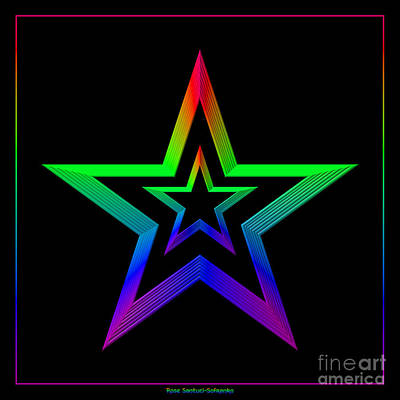 Digital Art - Rainbow Stars by Rose Santuci-Sofranko