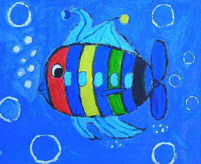 Autism Painting - Rainbow Submarine Fish by Artists With Autism Inc