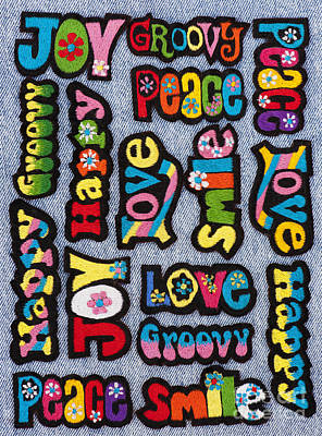 Embroidered Photograph - Rainbow Text by Tim Gainey