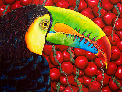 Exotic Bird Painting - Rainbow Toucan by Daniel Jean-Baptiste