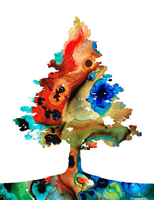 Spring Landscape Mixed Media - Rainbow Tree 2 - Colorful Abstract Tree Landscape Art by Sharon Cummings