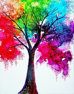 Autumn Painting - Rainbow Tree by Ann Marie Bone