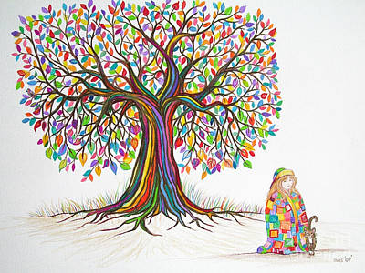 Quilts Drawing - Rainbow Tree Dreams by Nick Gustafson
