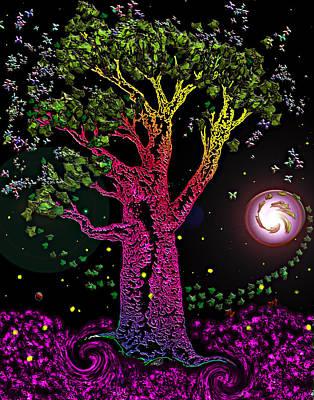 Pop Art Photograph - Rainbow Tree Night by Tanya Hamell