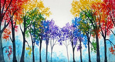 Pink Black Tree Rainbow Painting - Rainbow Trees by Ann Marie Bone
