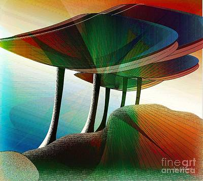 Digital Art - Rainbow Trees by Iris Gelbart