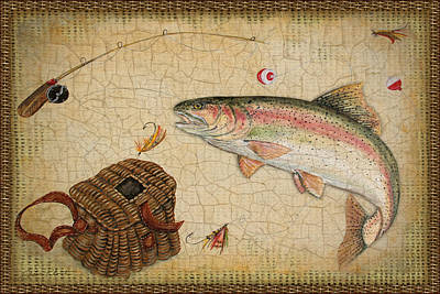 Painting - Rainbow Trout-basket Weave by Jean Plout