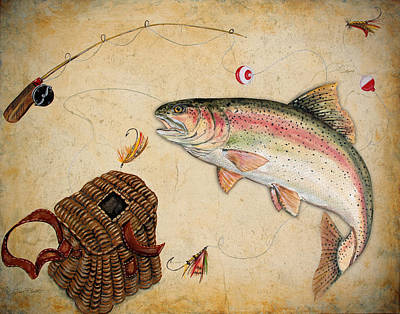 Fishing Flies Painting - Rainbow Trout by Jean Plout