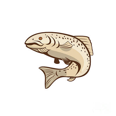Rainbow Trout Jumping Cartoon  Art Print by Aloysius Patrimonio