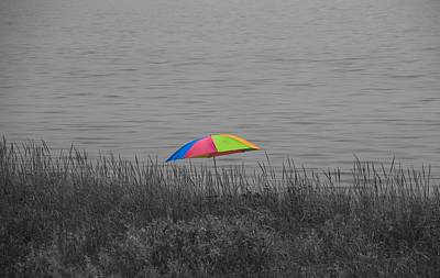 Rainbow Umbrella At The Beach Print by Dan Sproul