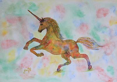 Rainbow Unicorn In My Garden Original Watercolor Painting Original by Georgeta  Blanaru