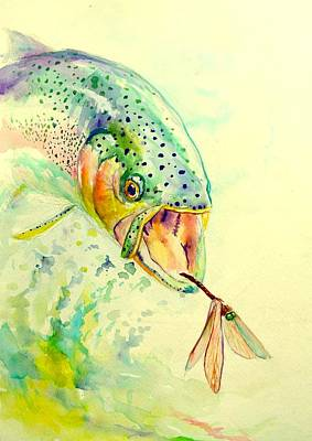 Rainbow Trout Painting - Rainbow Vs Dragon  by Yusniel Santos