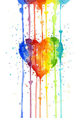 Rainbow Wall Art - Painting - Rainbow Watercolor Heart by Olga Shvartsur