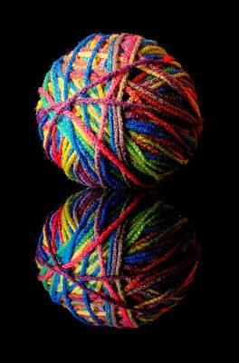 Rainbow Yarn And Reflection Art Print by Jim Hughes