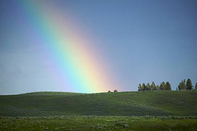Photograph - Rainbow, Yellowstone Park by Byron Jorjorian