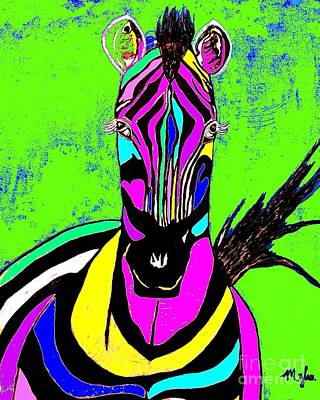Painting - Rainbow Zebra 2 Abstract by Saundra Myles