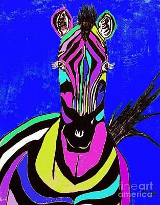 Painting - Rainbow Zebra Abstract 1 by Saundra Myles