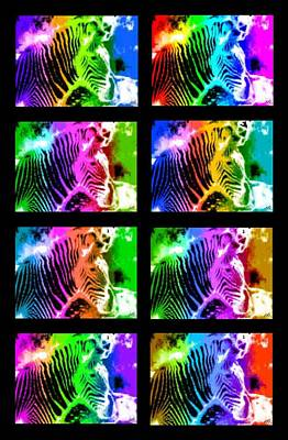 Gaudy Painting - Rainbow Zebra Collage by Bruce Nutting