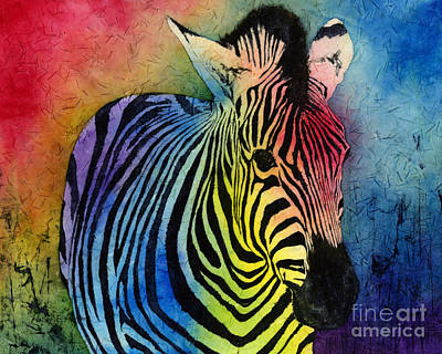 Batik Painting - Rainbow Zebra by Hailey E Herrera