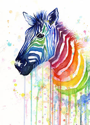 Watercolor Wall Art - Painting - Rainbow Zebra - Ode To Fruit Stripes by Olga Shvartsur