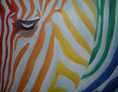 Horse Painting - Rainbow Zebra by Scott Dokey