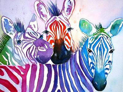 Painting - Rainbow Zebra's by Carlin Blahnik CarlinArtWatercolor
