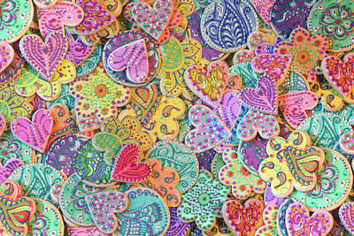 Collages Drawing - Rainbow_henna_cookies by Alixandra Mullins