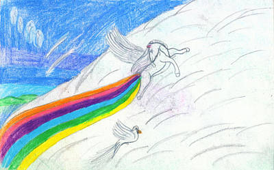Unicorn Drawing - Making Rainbows by Kd Neeley