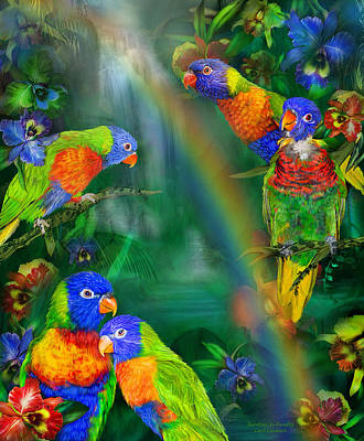 Parrot Art Mixed Media - Rainbows In Paradise by Carol Cavalaris