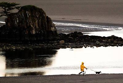 Raincoat Dog Walk Art Print by John Daly
