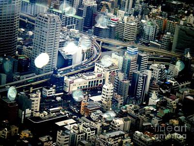 Tokyo Skyline Photograph - Raindrops by Nelly Bacskay