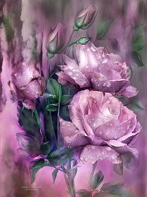 Mixed Media - Raindrops On Pink Roses by Carol Cavalaris