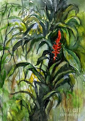 Painting -  Rainforest Bromeliad  by Virginia Potter