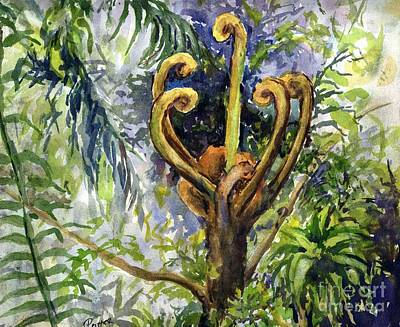 Painting - Rainforest Tree Fern Unfurling  by Virginia Potter