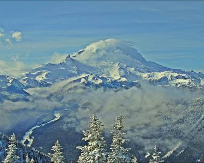 Photograph - Rainier Cloaked In Winter by Jeff Cook