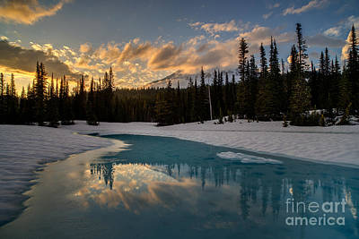 Thawing Photograph - Rainier Fiery Skies Reflection by Mike Reid