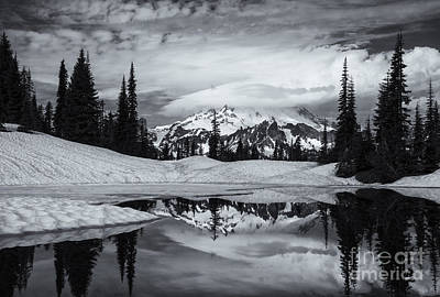 Rainier Reflections Art Print by Mike  Dawson