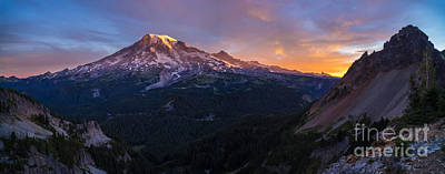 North Cascades Photograph - Rainier Soaring Skies by Mike Reid
