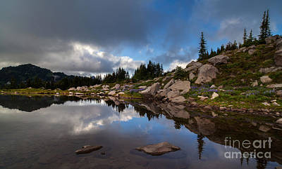 Serene Photograph - Rainier Spray Park Reflection by Mike Reid